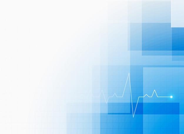 Fondo de atención médica azul con cardiograma