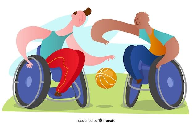 Fondo atletas discapacitados dibujados a mano