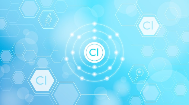 Fondo de átomo de cloro