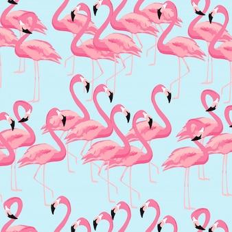 Fondo de aves tropicales flamingo sin patrón