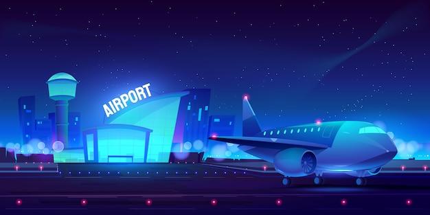 Fondo de avión y aeropuerto ilustrado