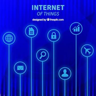 Fondo azul abstracto de cosas de internet