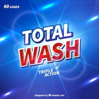Fondo azul abstracto de detergente con triple acción