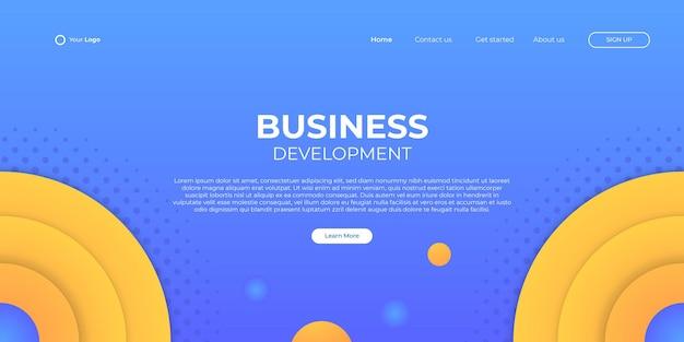 Fondo azul abstracto para la página de inicio de negocios con forma moderna y concepto de tecnología simple. plantilla de ilustración de vector de bloque de página de destino de diseño web corporativo.
