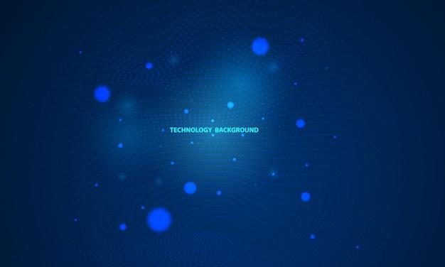 Fondo azul abstracto con triángulo dinámico. tecnología particle mist network seguridad cibernética.