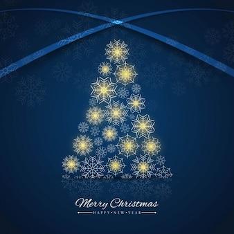 Fondo azul de árbol de navidad hecho de copos de nieve