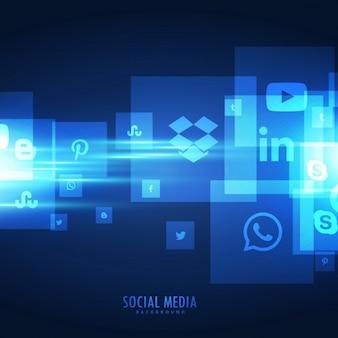 Fondo azul brillante de iconos sociales