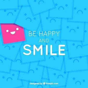 Fondo azul con caras felices y tristes