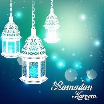 Fondo azul claro de ramadan kareem con lámpara iluminada