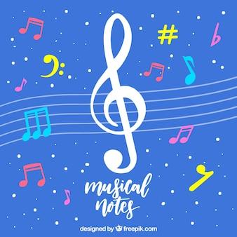 Fondo azul con clave de sol y notas musicales