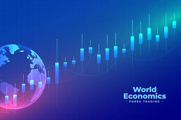 Fondo azul de comercio de divisas de economía mundial