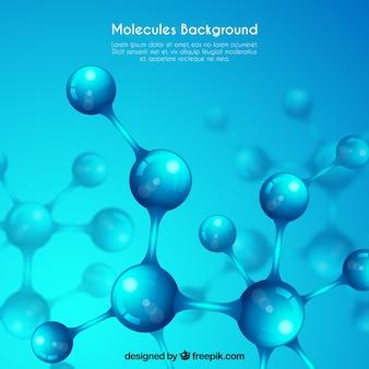 Fondo azul con estructuras moleculares