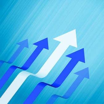 Fondo azul del concepto del negocio que lleva y de las flechas del crecimiento