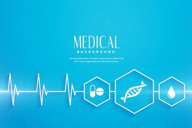 Fondo azul de concepto de salud y médico