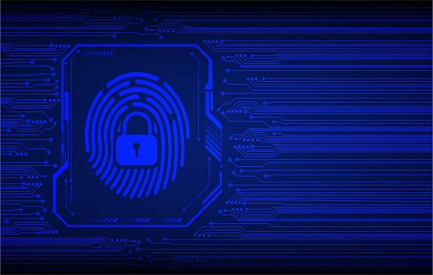 Fondo azul del concepto de la tecnología del futuro del circuito cibernético de la huella digital
