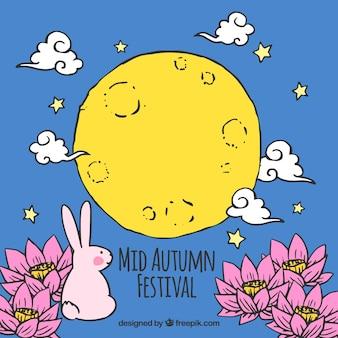 Fondo azul con un conejo y una luna amarilla, festival del medio otoño