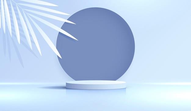 Fondo azul cosmético y pantalla de podio premium para la presentación de la marca y el empaque del producto