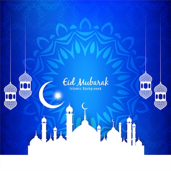 Fondo azul decorativo islámico eid mubarak