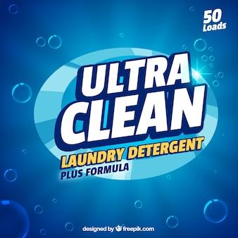 Fondo azul de detergente con nueva fórmula