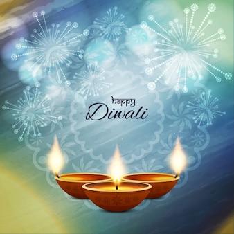 Fondo azul para diwali con fuegos artificiales