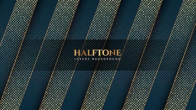 Fondo azul dorado de efecto de semitono de lujo con rayas y líneas diagonales