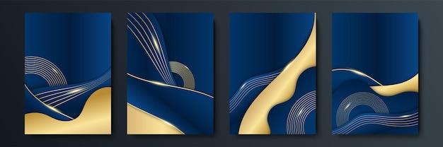 Fondo azul con elementos abstractos dorados. fondo de oro azul superposición dimensión abstracta geométrica moderna. elegante fondo dorado azul marino con capa superpuesta. traje para negocios y corporativos.