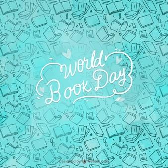 Fondo azul con elementos dibujados a mano para el día mundial del libro