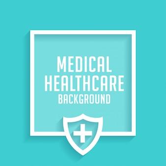 Fondo azul de escudo médico de salud con espacio de texto