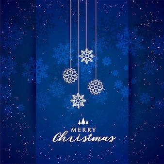 Fondo azul feliz del festival de los copos de nieve de la navidad