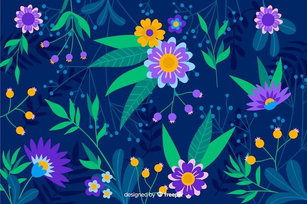 Fondo azul con flores moradas y amarillas