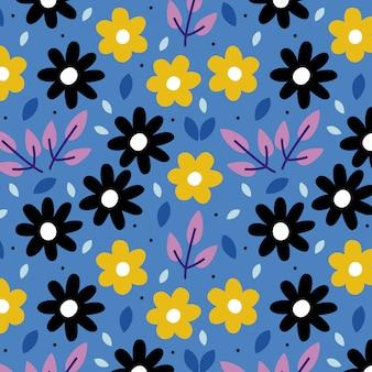 Fondo azul con flores de verano.