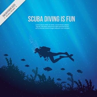 Fondo azul de fondo del mar con submarinista y algas