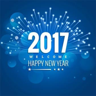 Fondo azul con fuegos artificiales para año nuevo