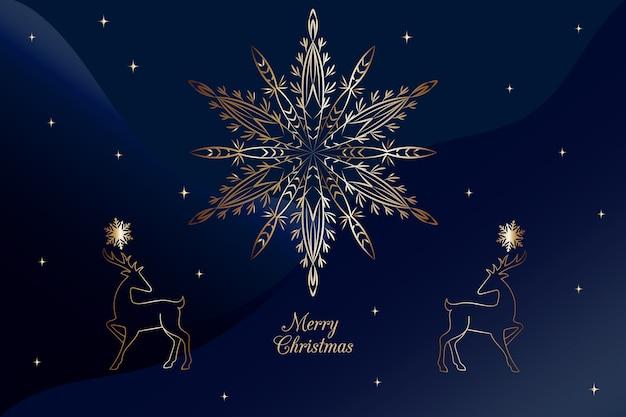 Fondo azul de fuegos artificiales de copo de nieve de navidad en estilo de contorno