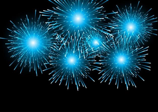 Fondo azul de fuegos artificiales