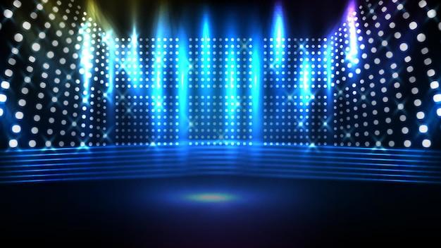 Fondo azul futurista abstracto del escenario brillante con hermoso rayo de foco