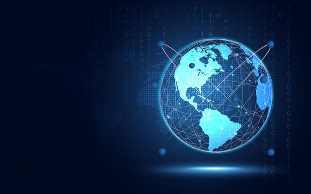 Fondo azul futurista de la tecnología del extracto de la tierra