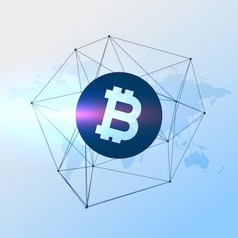 Fondo azul geométrico de bitcoin