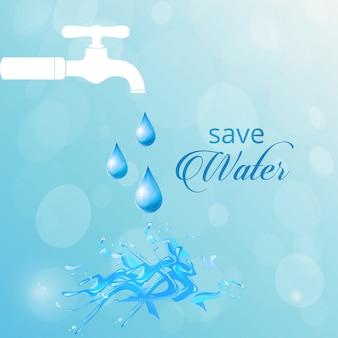 Fondo azul con un grifo blanco, día mundial del agua