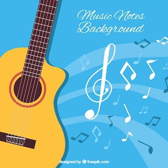 Fondo azul con guitarra acústica y notas musicales