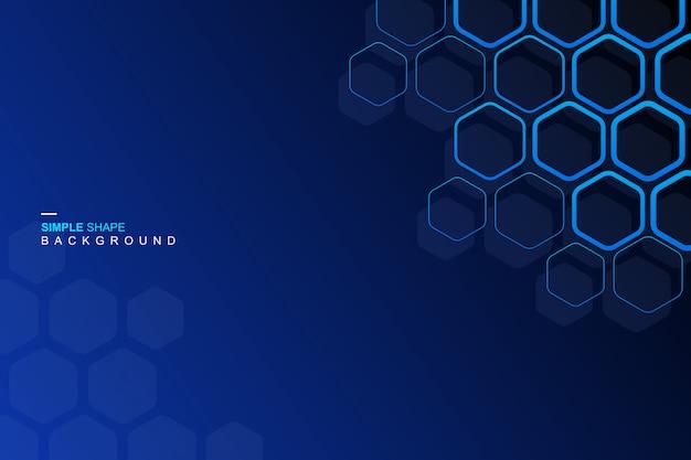 Fondo azul del hexágono