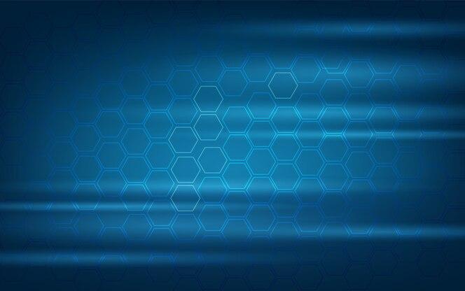 Fondo azul hexágono