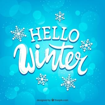 Fondo azul hola invierno con copos de nieve