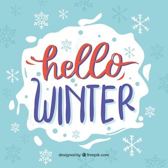Fondo azul hola invierno con letras caligráficas rojas y moradas