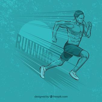Fondo azul de hombre corriendo