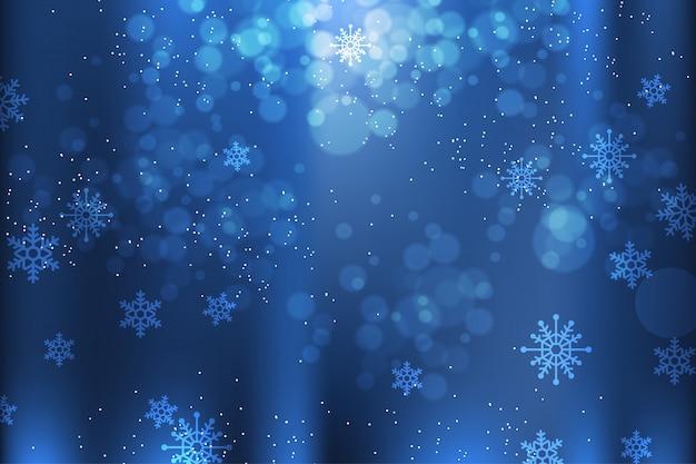 Fondo azul de invierno con elementos de copos de nieve