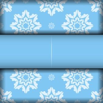 Fondo azul con lujosos adornos blancos para el diseño debajo de su logotipo o texto