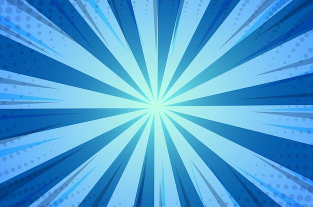 Fondo azul de la luz del sol de la historieta cómica abstracta