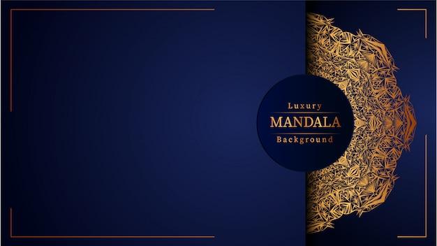 Fondo azul mandala de lujo