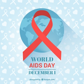Fondo azul con mapa del mundo y cinta roja para el día del sida